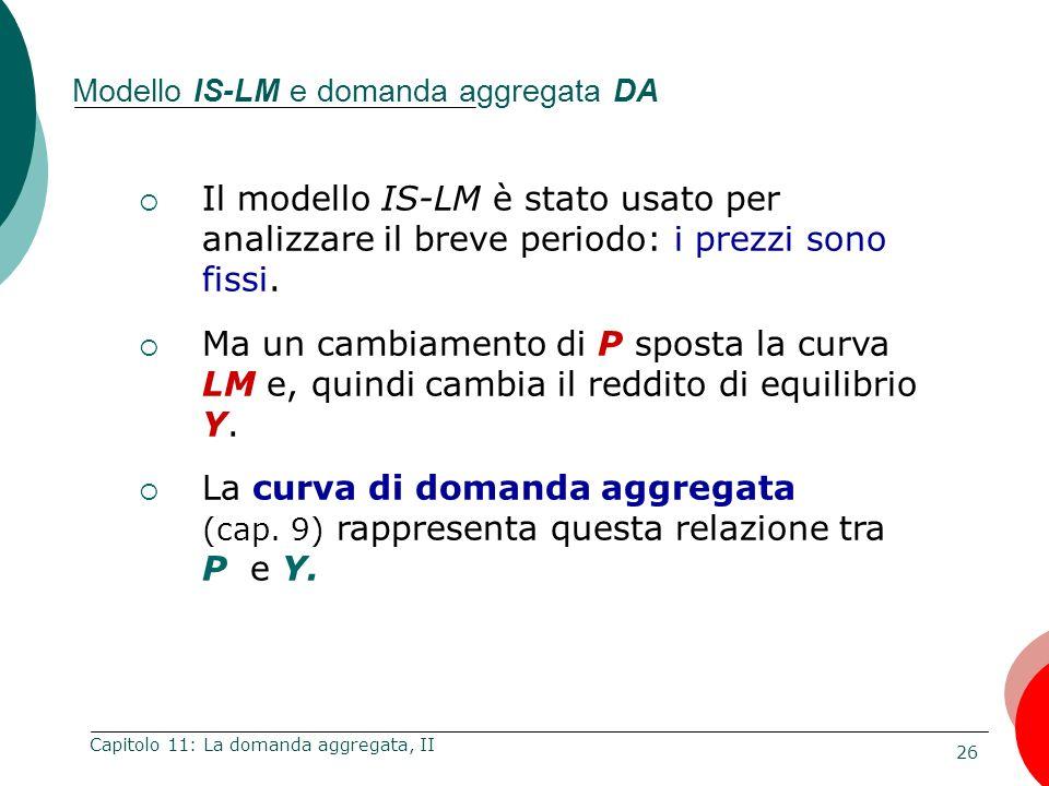 26 Capitolo 11: La domanda aggregata, II Modello IS-LM e domanda aggregata DA Il modello IS-LM è stato usato per analizzare il breve periodo: i prezzi