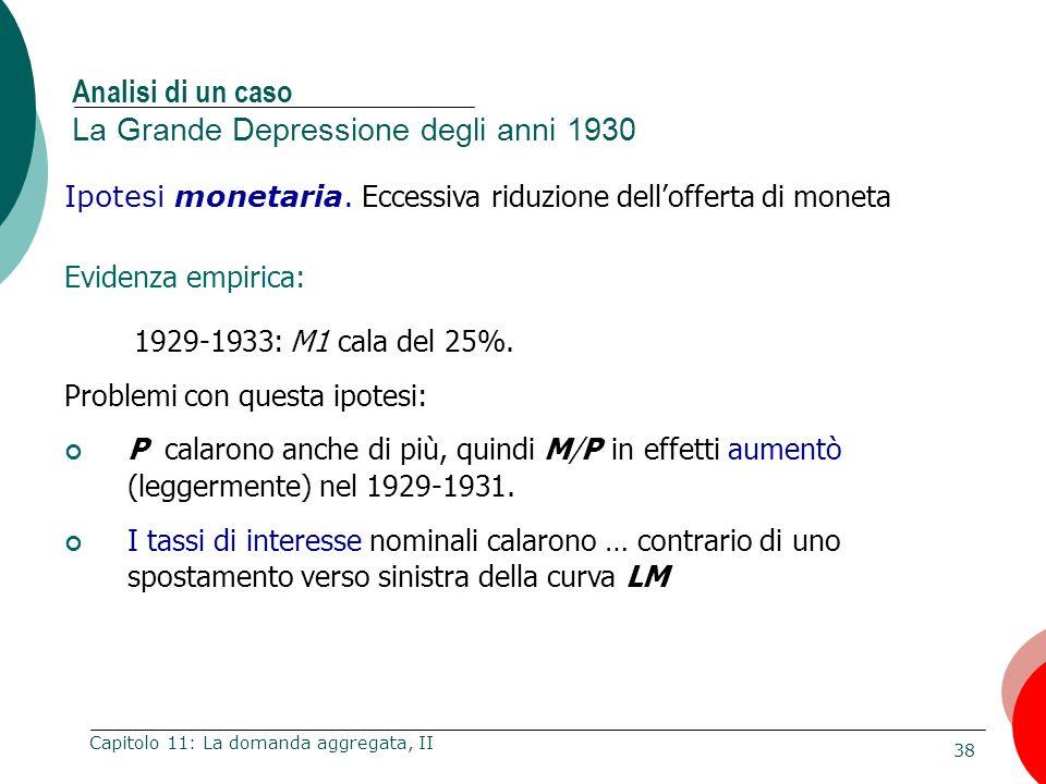 38 Capitolo 11: La domanda aggregata, II Ipotesi monetaria. Eccessiva riduzione dellofferta di moneta Evidenza empirica: 1929-1933: M1 cala del 25%. P
