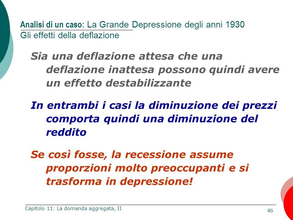 46 Capitolo 11: La domanda aggregata, II Sia una deflazione attesa che una deflazione inattesa possono quindi avere un effetto destabilizzante In entr
