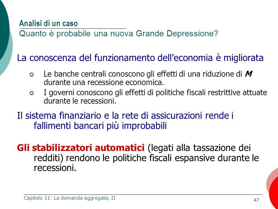 47 Capitolo 11: La domanda aggregata, II La conoscenza del funzionamento delleconomia è migliorata Le banche centrali conoscono gli effetti di una rid
