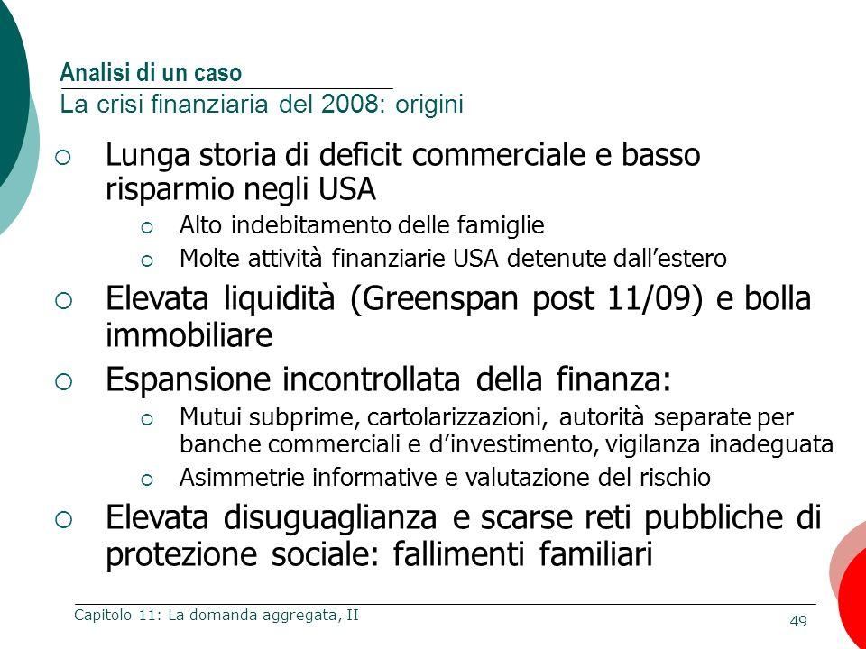 49 Capitolo 11: La domanda aggregata, II Lunga storia di deficit commerciale e basso risparmio negli USA Alto indebitamento delle famiglie Molte attiv