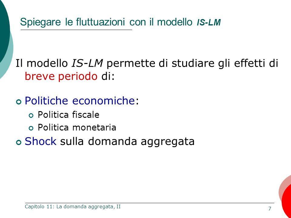 28 Capitolo 11: La domanda aggregata, II IS-LM e DA Politica monetaria espansiva Un aumento di M sposta la LM verso destra P Y Y1Y1 r Y (a) Il modello IS-LM IS 1 LM 2 DA 1 LM 1 Y Y Y2Y2 DA 2 (b) La curva di domanda aggregata Poiché: r allora: I e Y per ogni livello di P Quindi la curva DA si sposta verso destra.