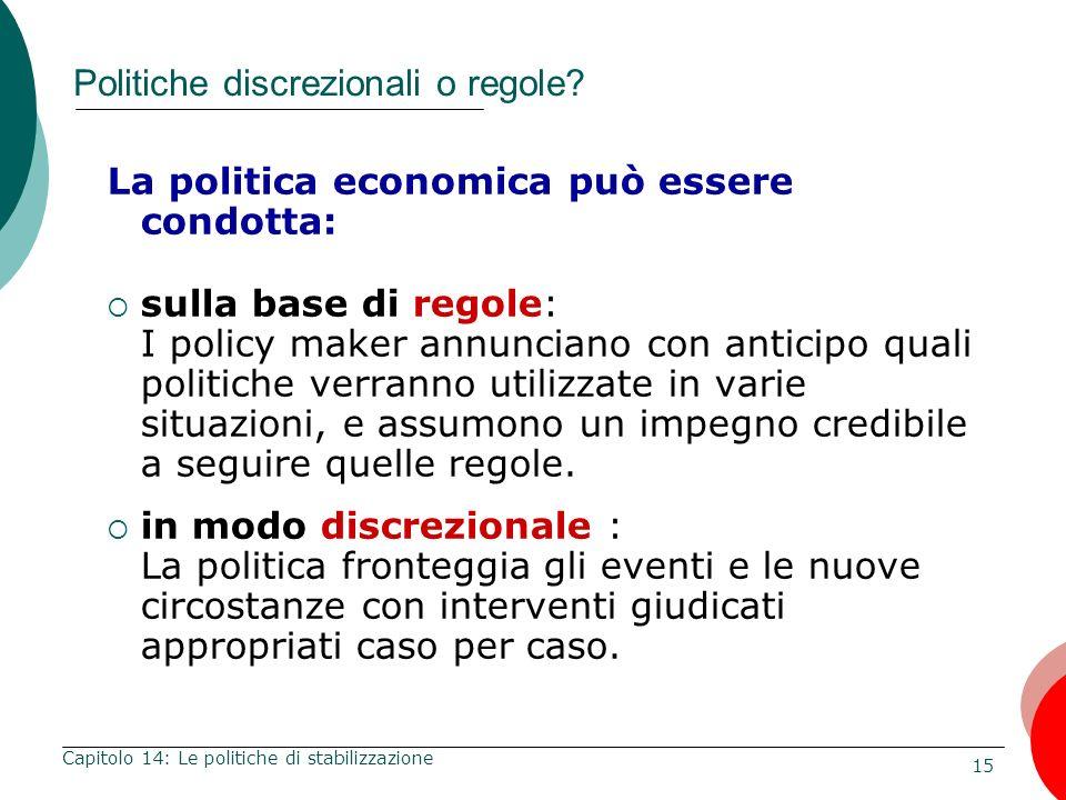 16 Capitolo 14: Le politiche di stabilizzazione A sostegno delle regole di politica economica Sfiducia nei politici e nel processo politico Politici male informati o incompetenti.