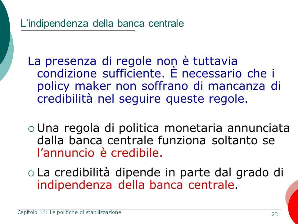 24 Capitolo 14: Le politiche di stabilizzazione Analisi di un caso Indipendenza della banca centrale e inflazione 1955-1988