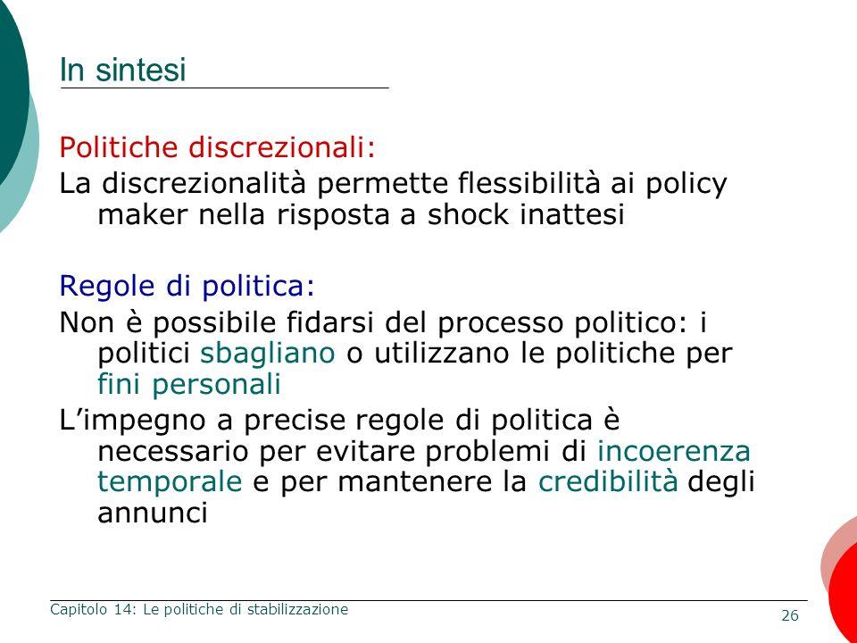 26 Capitolo 14: Le politiche di stabilizzazione In sintesi Politiche discrezionali: La discrezionalità permette flessibilità ai policy maker nella ris