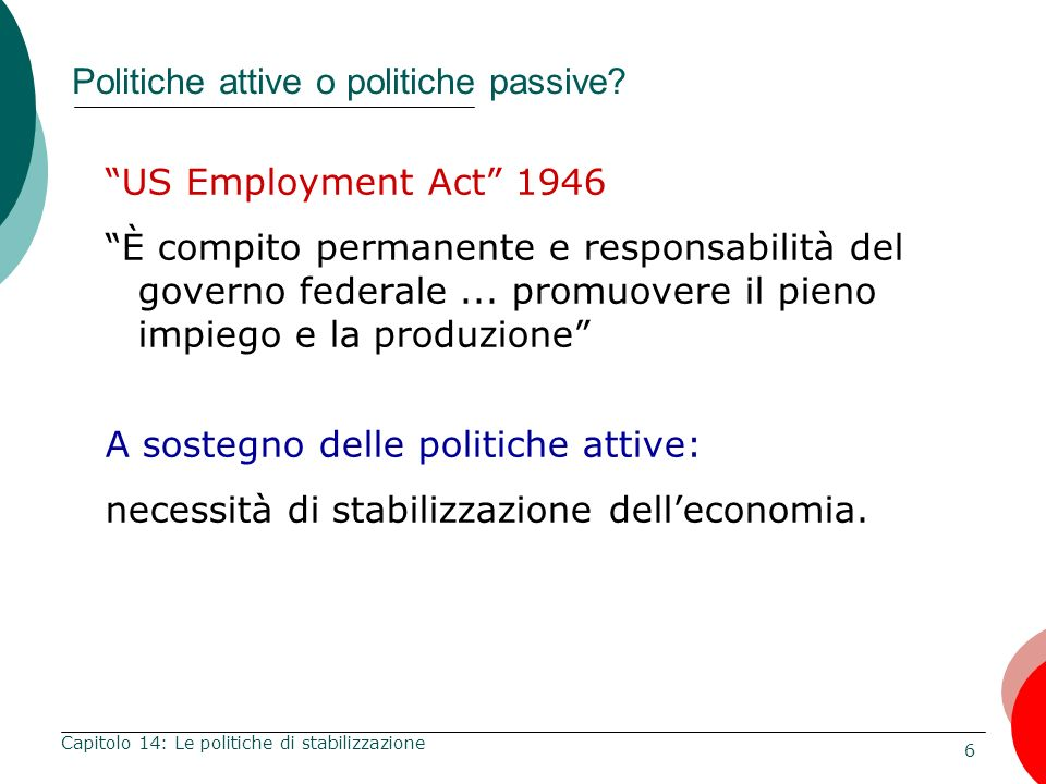 7 Capitolo 14: Le politiche di stabilizzazione Politiche attive o politiche passive.