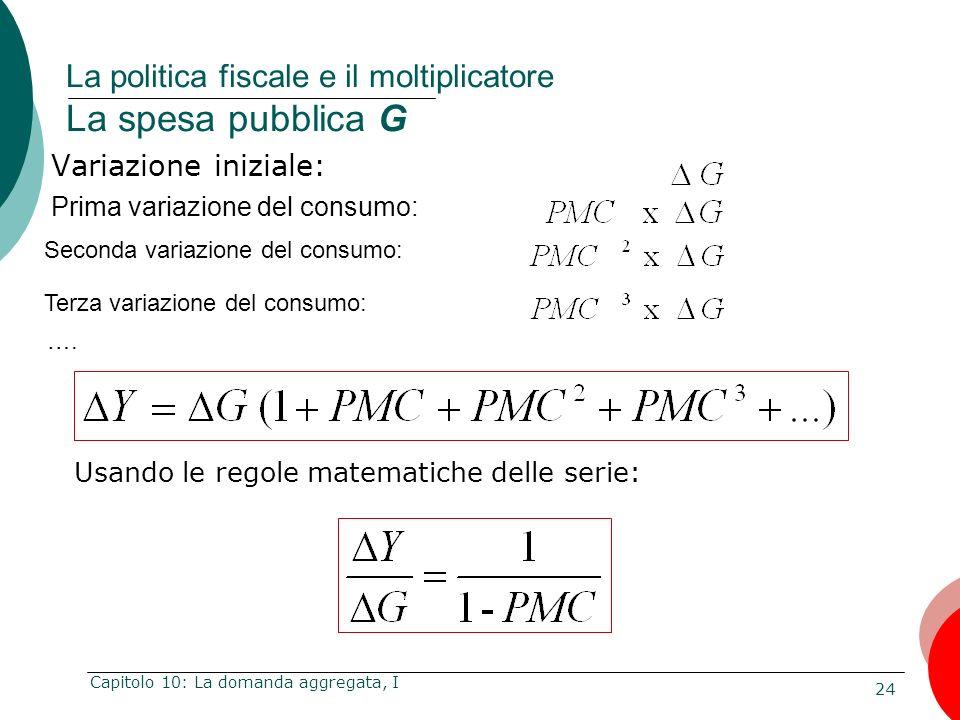24 Capitolo 10: La domanda aggregata, I Variazione iniziale: La politica fiscale e il moltiplicatore La spesa pubblica G Usando le regole matematiche