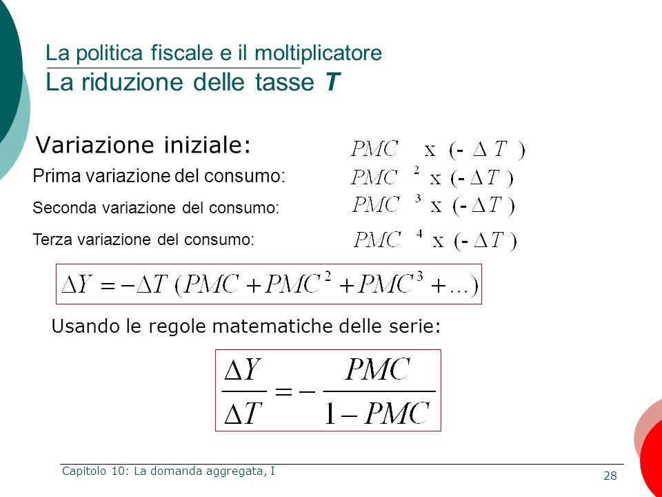 28 Capitolo 10: La domanda aggregata, I La politica fiscale e il moltiplicatore La riduzione delle tasse T Usando le regole matematiche delle serie: V