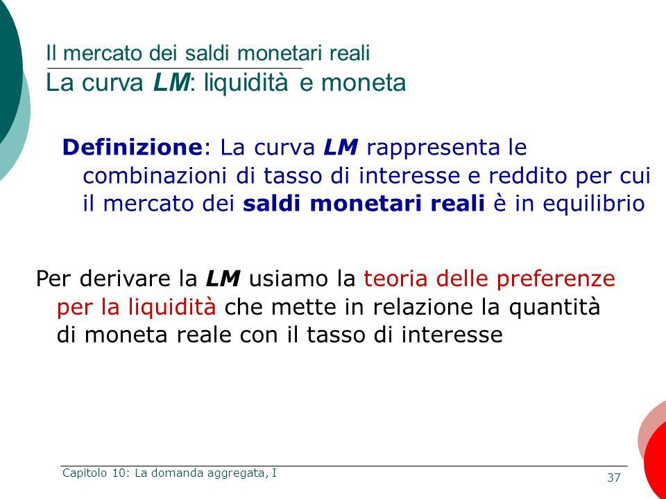 37 Capitolo 10: La domanda aggregata, I Definizione: La curva LM rappresenta le combinazioni di tasso di interesse e reddito per cui il mercato dei sa