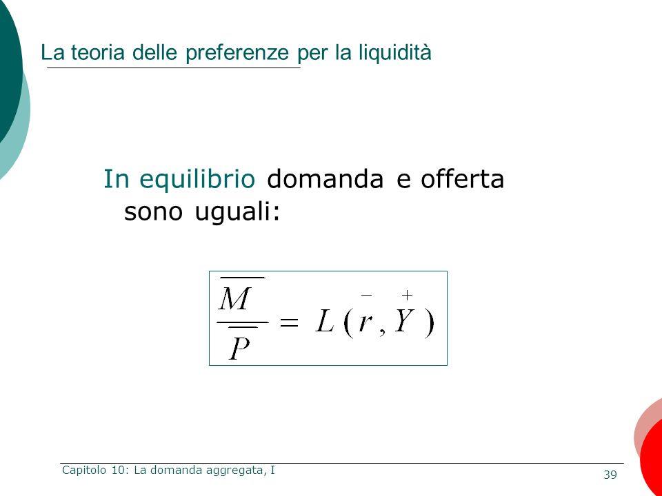 39 Capitolo 10: La domanda aggregata, I La teoria delle preferenze per la liquidità In equilibrio domanda e offerta sono uguali: