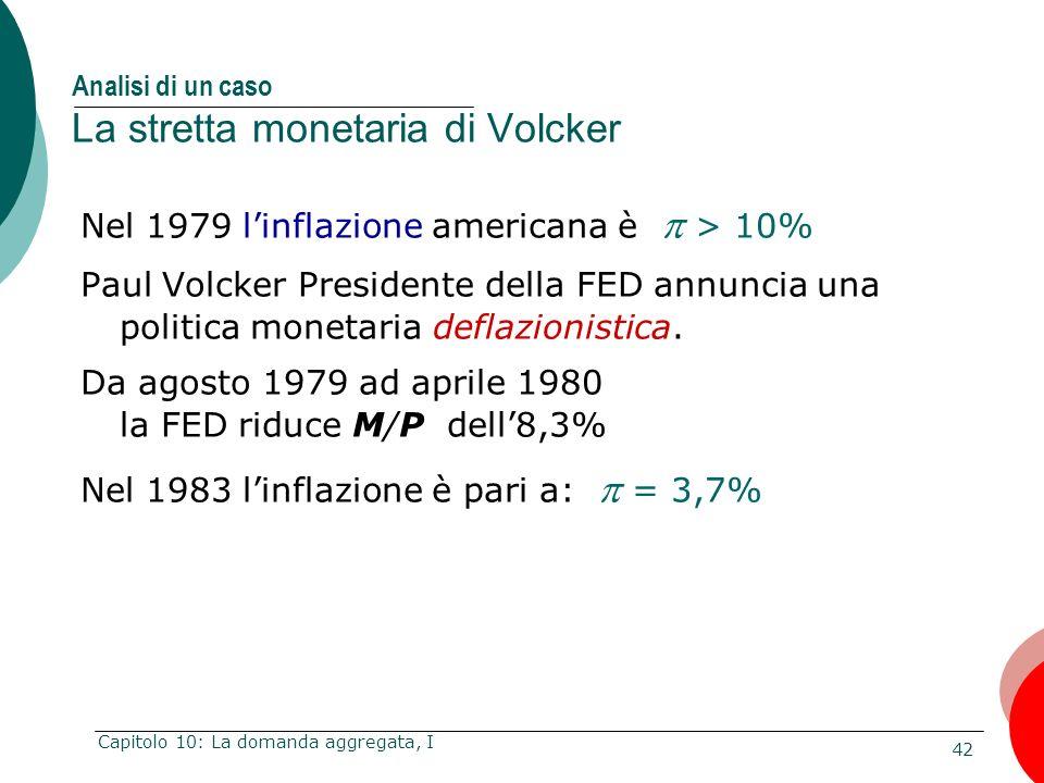 42 Capitolo 10: La domanda aggregata, I Analisi di un caso La stretta monetaria di Volcker Nel 1979 linflazione americana è > 10% Paul Volcker Preside
