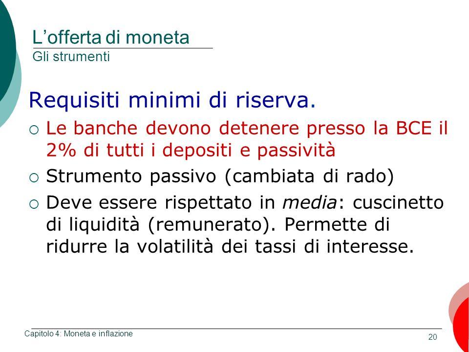 20 Lofferta di moneta Gli strumenti Requisiti minimi di riserva. Le banche devono detenere presso la BCE il 2% di tutti i depositi e passività Strumen