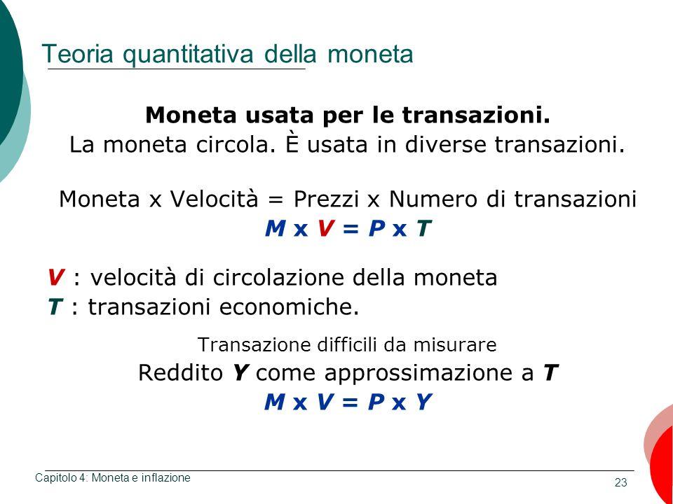 23 Teoria quantitativa della moneta Moneta usata per le transazioni. La moneta circola. È usata in diverse transazioni. Moneta x Velocità = Prezzi x N