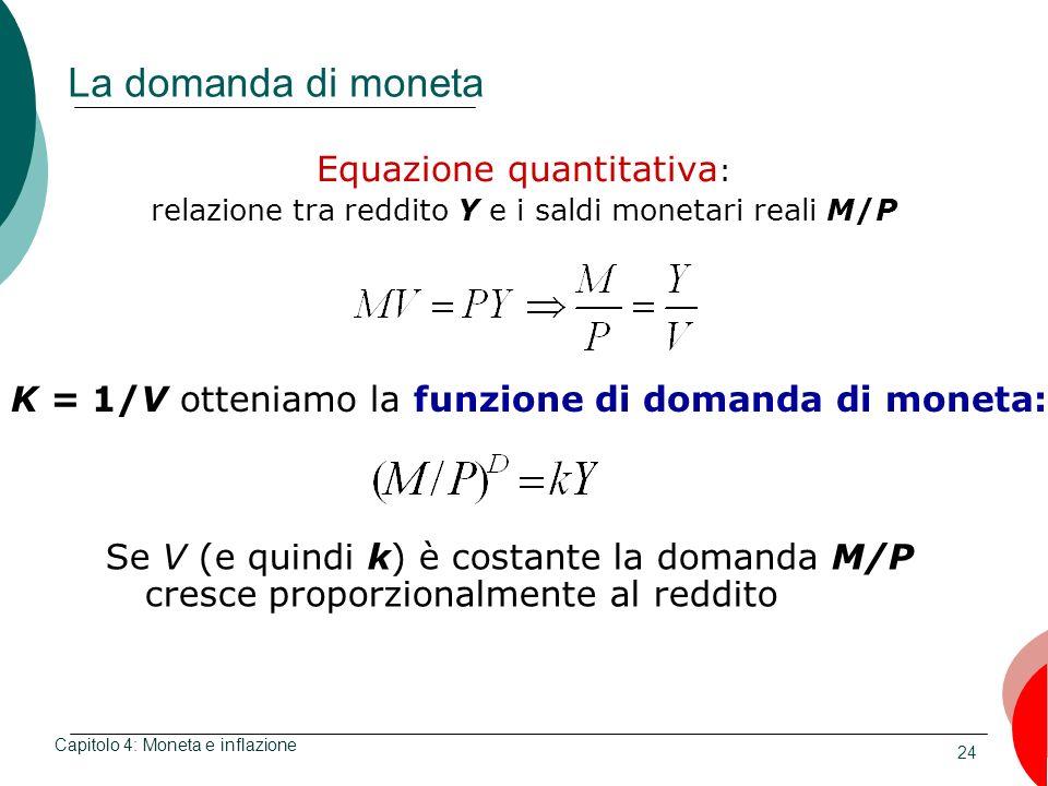 24 La domanda di moneta Equazione quantitativa : relazione tra reddito Y e i saldi monetari reali M/P Capitolo 4: Moneta e inflazione K = 1/V otteniam