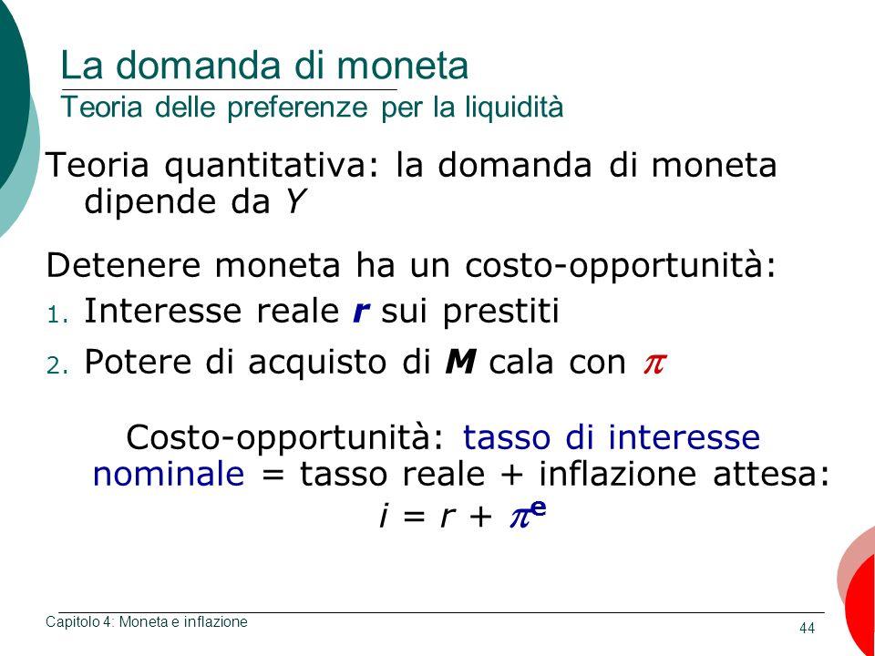 44 La domanda di moneta Teoria delle preferenze per la liquidità Teoria quantitativa: la domanda di moneta dipende da Y Detenere moneta ha un costo-op