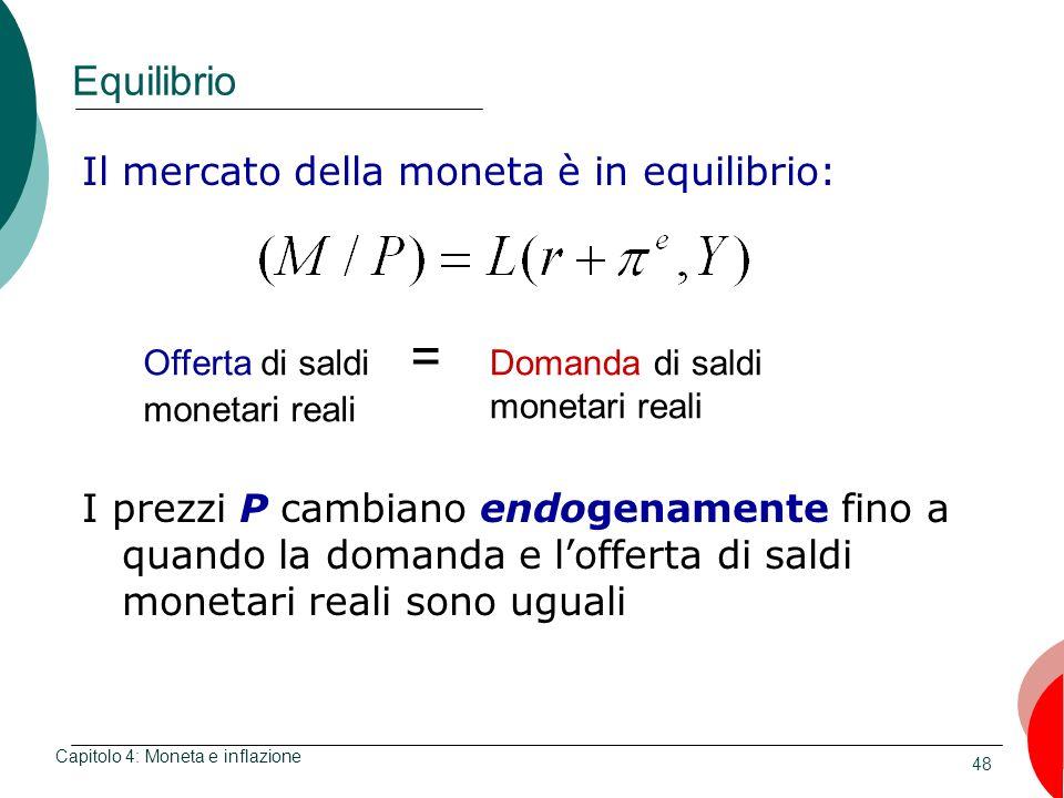 48 Equilibrio Capitolo 4: Moneta e inflazione Il mercato della moneta è in equilibrio: Offerta di saldi = monetari reali Domanda di saldi monetari rea