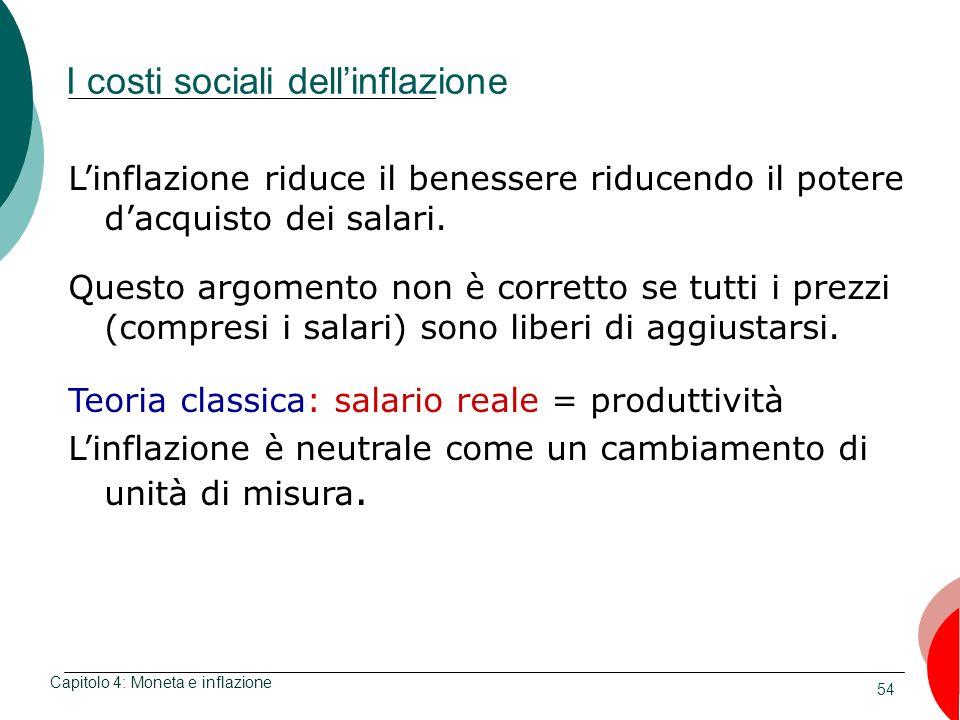 54 I costi sociali dellinflazione Capitolo 4: Moneta e inflazione Linflazione riduce il benessere riducendo il potere dacquisto dei salari. Questo arg