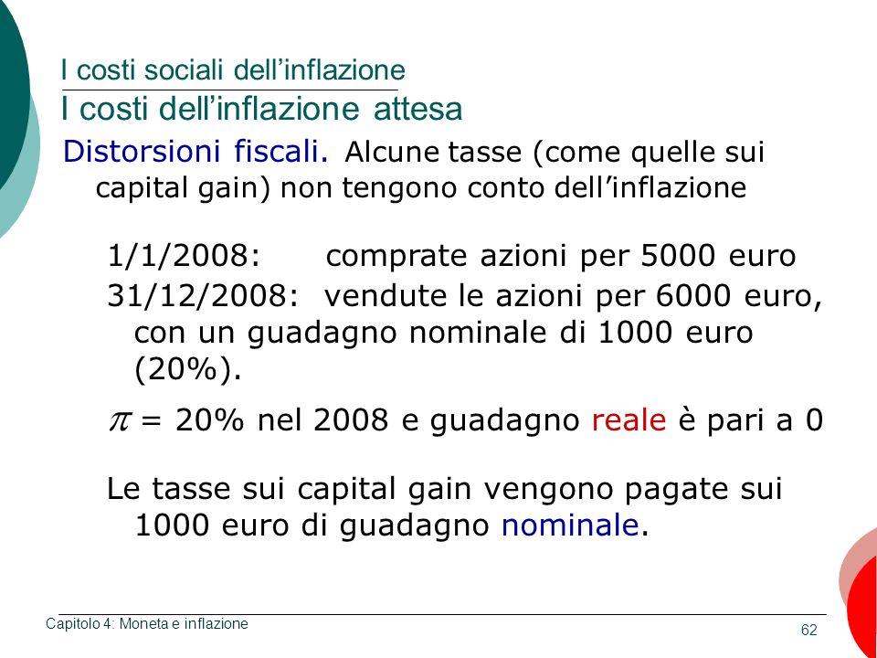 62 I costi sociali dellinflazione I costi dellinflazione attesa Capitolo 4: Moneta e inflazione Distorsioni fiscali. Alcune tasse (come quelle sui cap