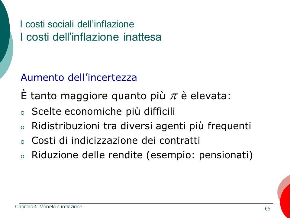 65 I costi sociali dellinflazione I costi dellinflazione inattesa Capitolo 4: Moneta e inflazione Aumento dellincertezza È tanto maggiore quanto più è