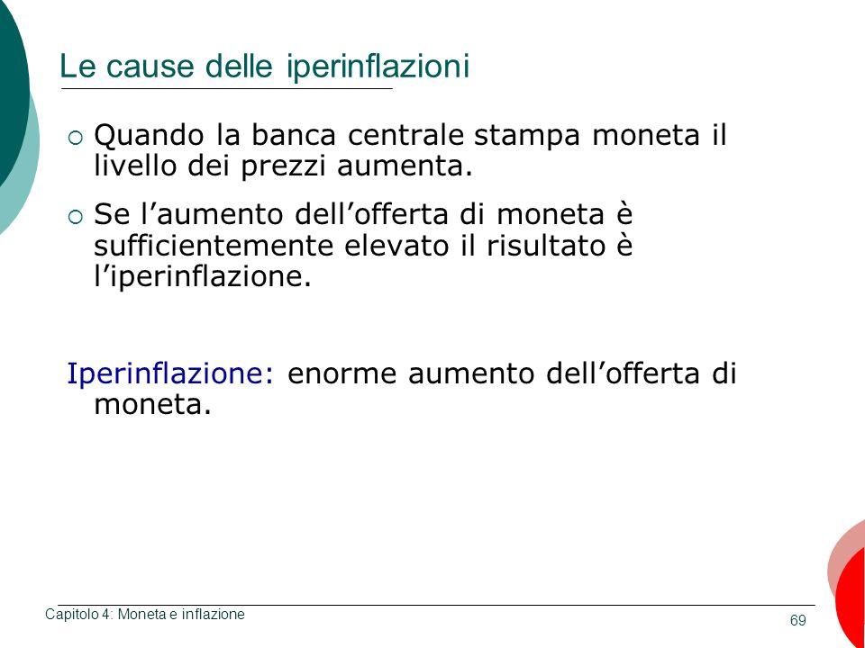 69 Le cause delle iperinflazioni Quando la banca centrale stampa moneta il livello dei prezzi aumenta. Se laumento dellofferta di moneta è sufficiente