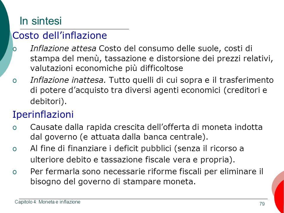 79 In sintesi Costo dellinflazione o Inflazione attesa Costo del consumo delle suole, costi di stampa del menù, tassazione e distorsione dei prezzi re