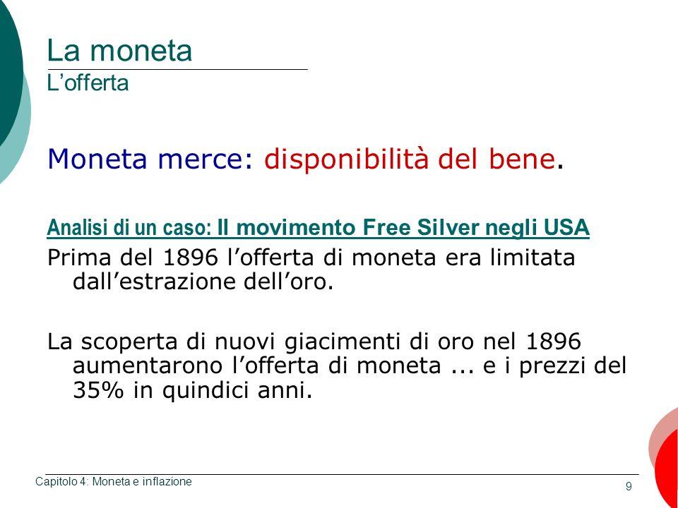 9 La moneta Lofferta Moneta merce: disponibilità del bene. Analisi di un caso: Il movimento Free Silver negli USA Prima del 1896 lofferta di moneta er