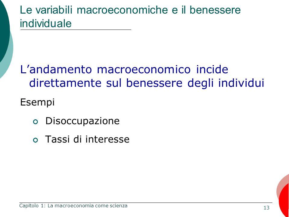 13 Le variabili macroeconomiche e il benessere individuale Landamento macroeconomico incide direttamente sul benessere degli individui Esempi Disoccupazione Tassi di interesse Capitolo 1: La macroeconomia come scienza