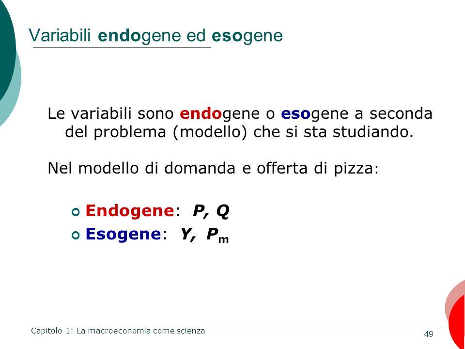 49 Variabili endogene ed esogene Le variabili sono endogene o esogene a seconda del problema (modello) che si sta studiando.