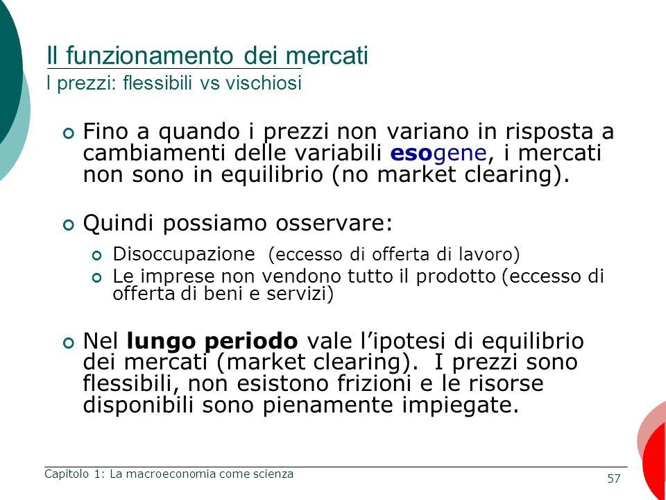 57 Il funzionamento dei mercati I prezzi: flessibili vs vischiosi Fino a quando i prezzi non variano in risposta a cambiamenti delle variabili esogene, i mercati non sono in equilibrio (no market clearing).