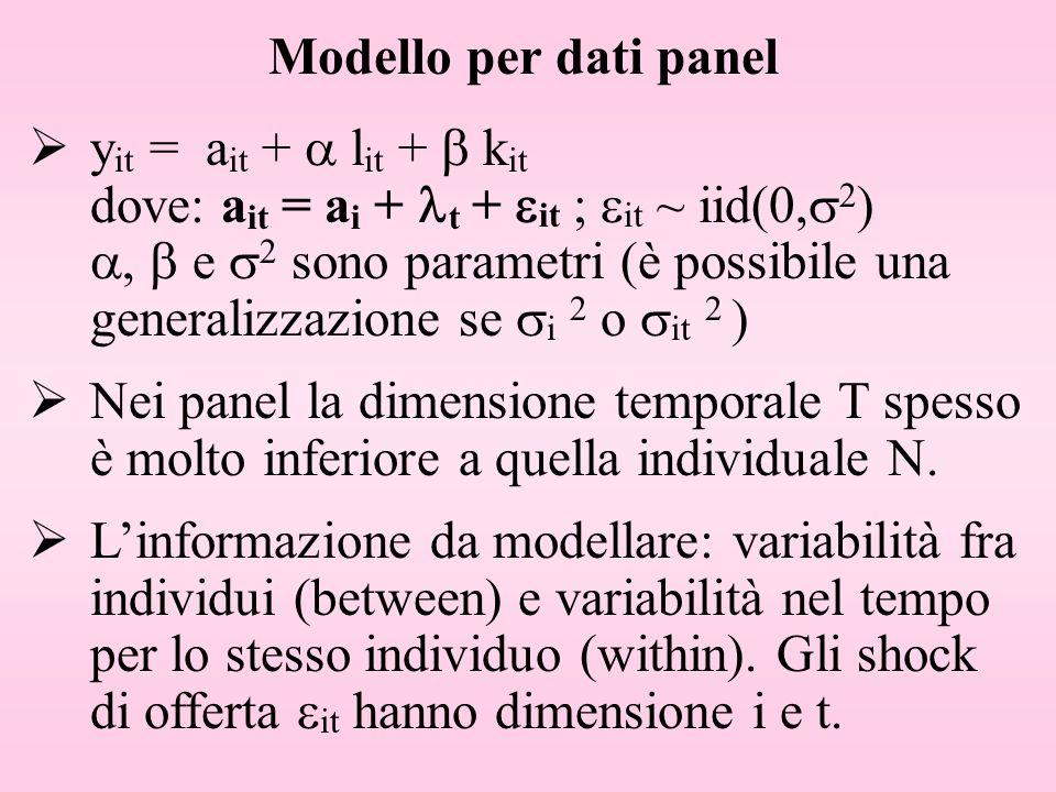 Modello per dati panel y it = a it + l it + k it dove: a it = a i + t + it ; it ~ iid(0, 2 ), e 2 sono parametri (è possibile una generalizzazione se