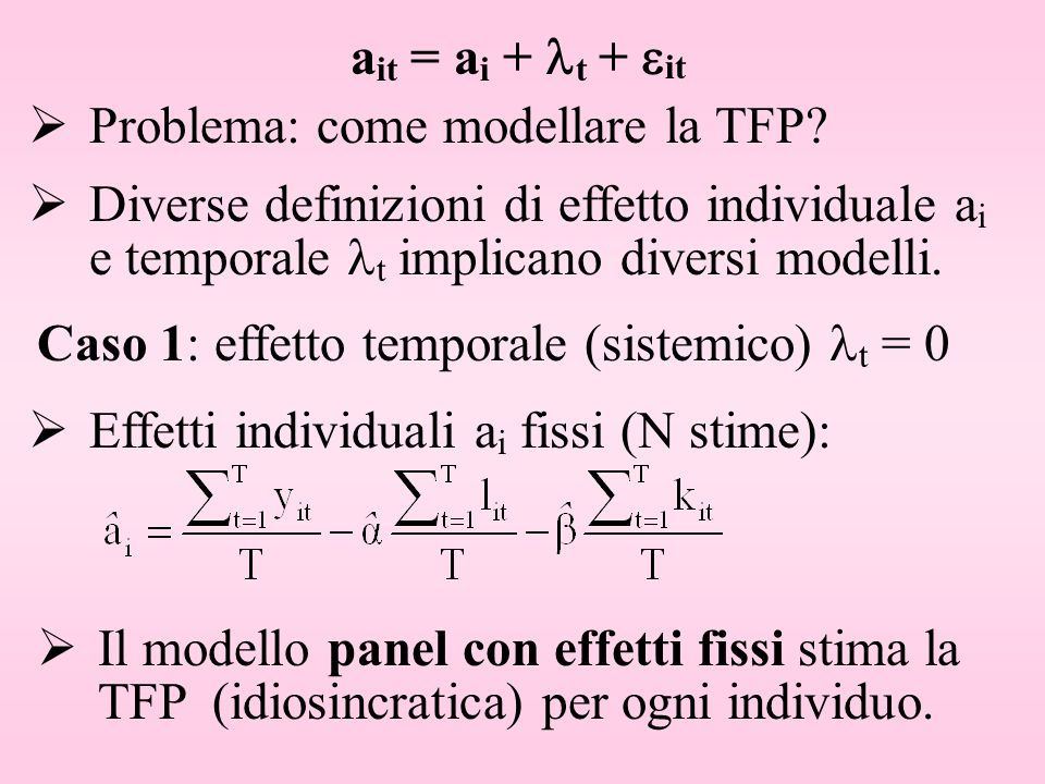 a it = a i + t + it Problema: come modellare la TFP? Diverse definizioni di effetto individuale a i e temporale t implicano diversi modelli. Effetti i