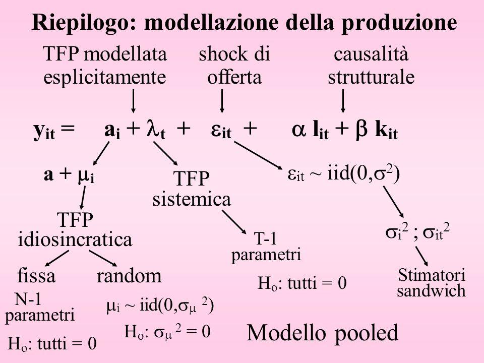 Riepilogo: modellazione della produzione TFP modellata esplicitamente shock di offerta causalità strutturale y it = a i + t + it + l it + k it a + i T