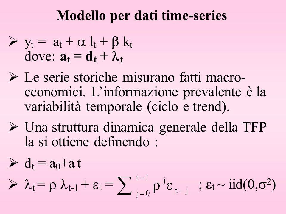 Modello per dati time-series y t = a t + l t + k t dove: a t = d t + t Una struttura dinamica generale della TFP la si ottiene definendo : d t = a 0 +