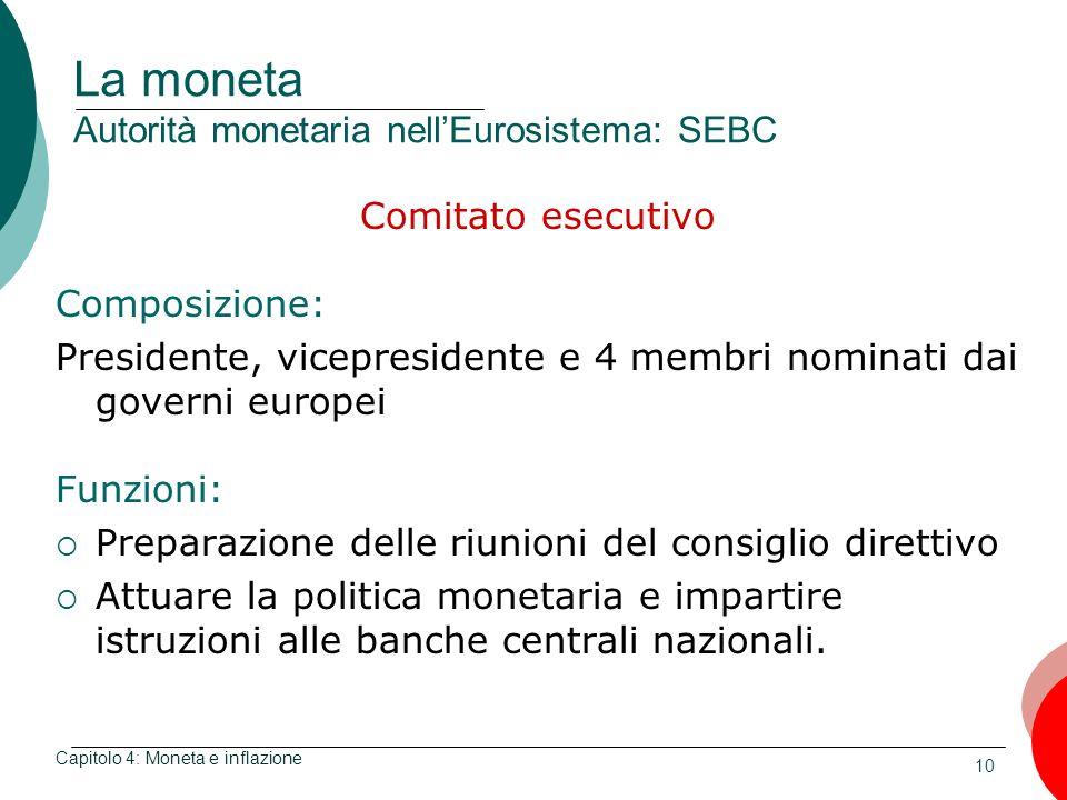 10 La moneta Autorità monetaria nellEurosistema: SEBC Comitato esecutivo Composizione: Presidente, vicepresidente e 4 membri nominati dai governi euro