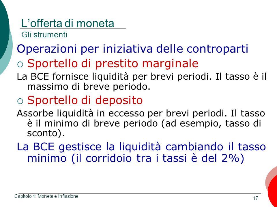 17 Lofferta di moneta Gli strumenti Operazioni per iniziativa delle controparti Sportello di prestito marginale La BCE fornisce liquidità per brevi pe