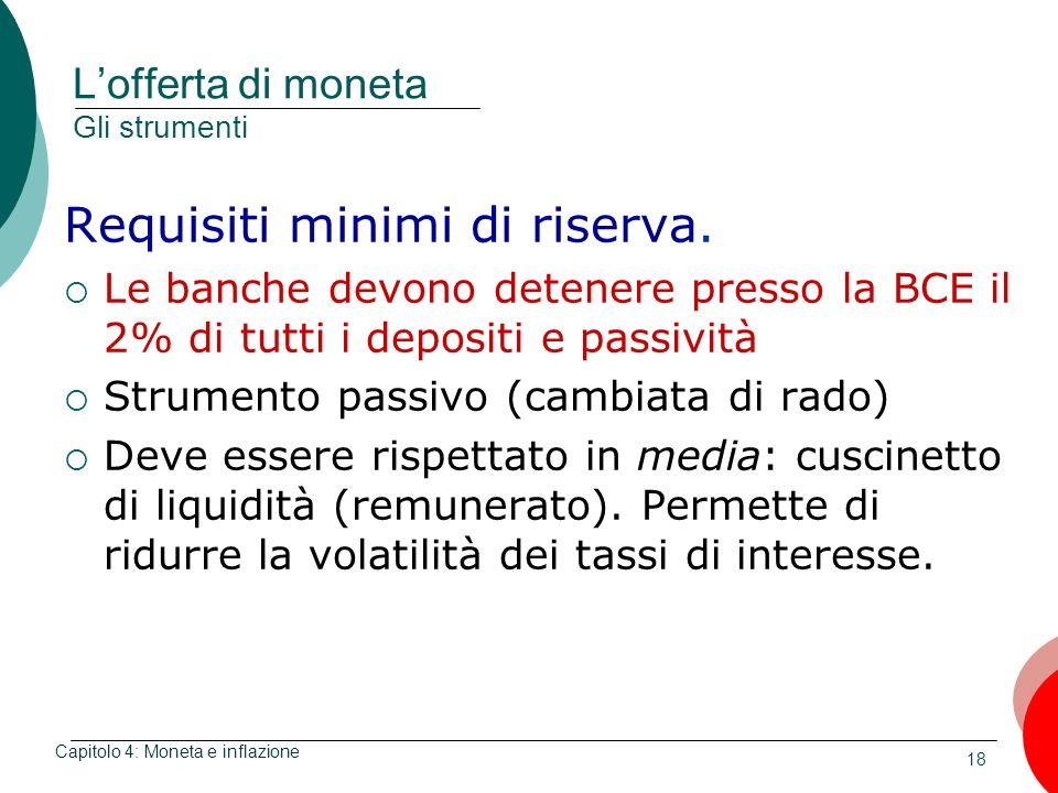 18 Lofferta di moneta Gli strumenti Requisiti minimi di riserva. Le banche devono detenere presso la BCE il 2% di tutti i depositi e passività Strumen