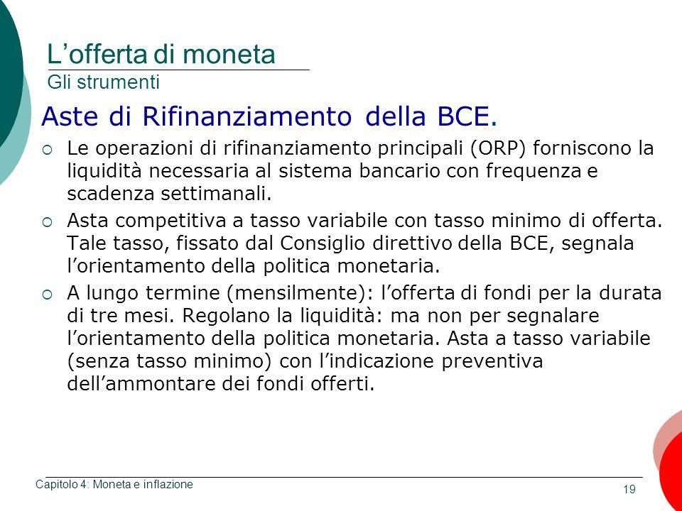 19 Lofferta di moneta Gli strumenti Aste di Rifinanziamento della BCE. Le operazioni di rifinanziamento principali (ORP) forniscono la liquidità neces