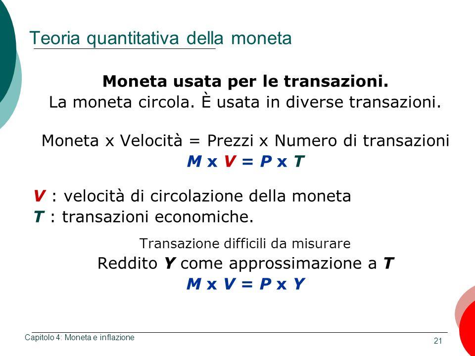 21 Teoria quantitativa della moneta Moneta usata per le transazioni. La moneta circola. È usata in diverse transazioni. Moneta x Velocità = Prezzi x N