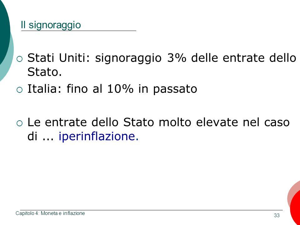 33 Il signoraggio Stati Uniti: signoraggio 3% delle entrate dello Stato. Italia: fino al 10% in passato Le entrate dello Stato molto elevate nel caso