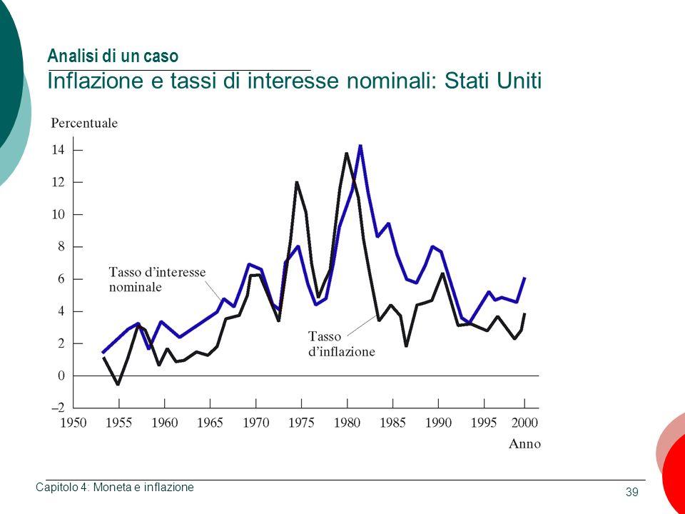 39 Analisi di un caso Inflazione e tassi di interesse nominali: Stati Uniti Capitolo 4: Moneta e inflazione