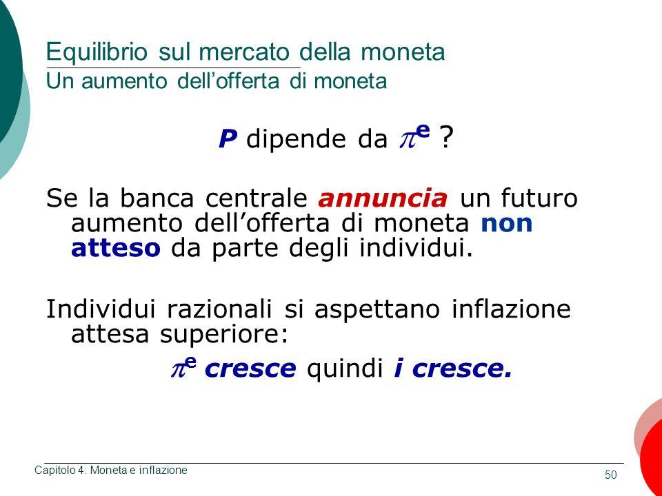 50 Equilibrio sul mercato della moneta Un aumento dellofferta di moneta P dipende da e ? Se la banca centrale annuncia un futuro aumento dellofferta d