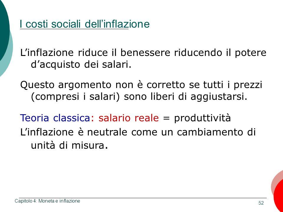 52 I costi sociali dellinflazione Capitolo 4: Moneta e inflazione Linflazione riduce il benessere riducendo il potere dacquisto dei salari. Questo arg