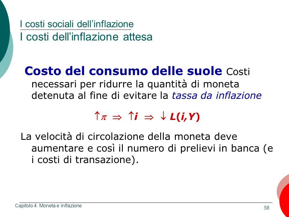 58 I costi sociali dellinflazione I costi dellinflazione attesa Capitolo 4: Moneta e inflazione Costo del consumo delle suole Costi necessari per ridu