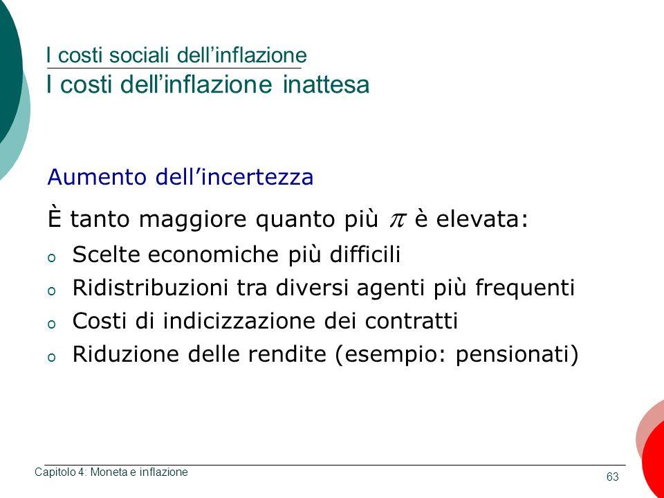 63 I costi sociali dellinflazione I costi dellinflazione inattesa Capitolo 4: Moneta e inflazione Aumento dellincertezza È tanto maggiore quanto più è