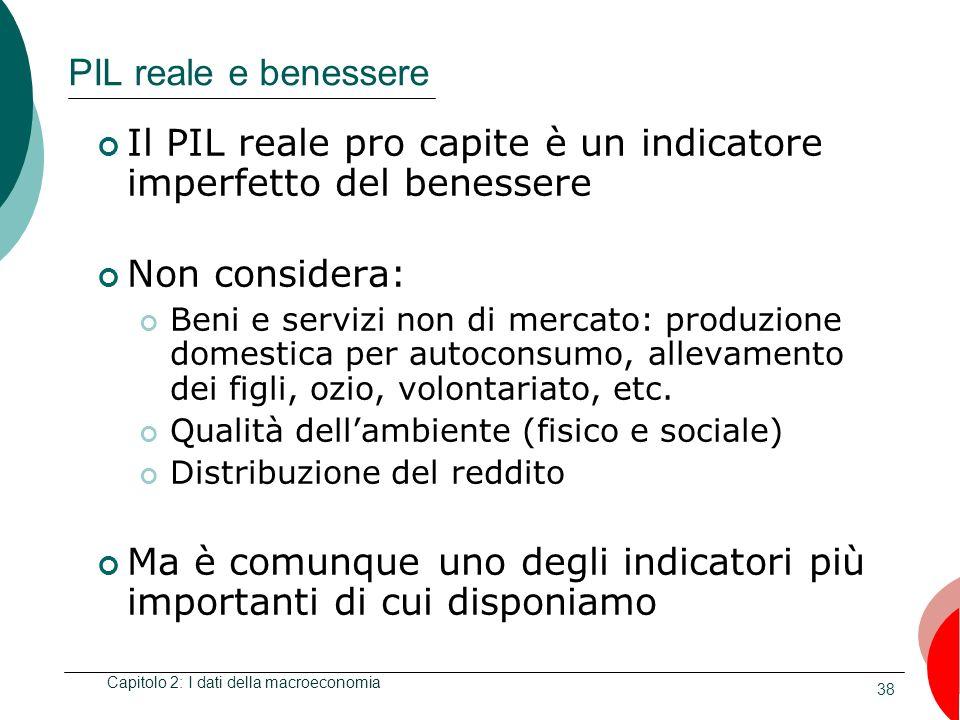 38 PIL reale e benessere Il PIL reale pro capite è un indicatore imperfetto del benessere Non considera: Beni e servizi non di mercato: produzione domestica per autoconsumo, allevamento dei figli, ozio, volontariato, etc.