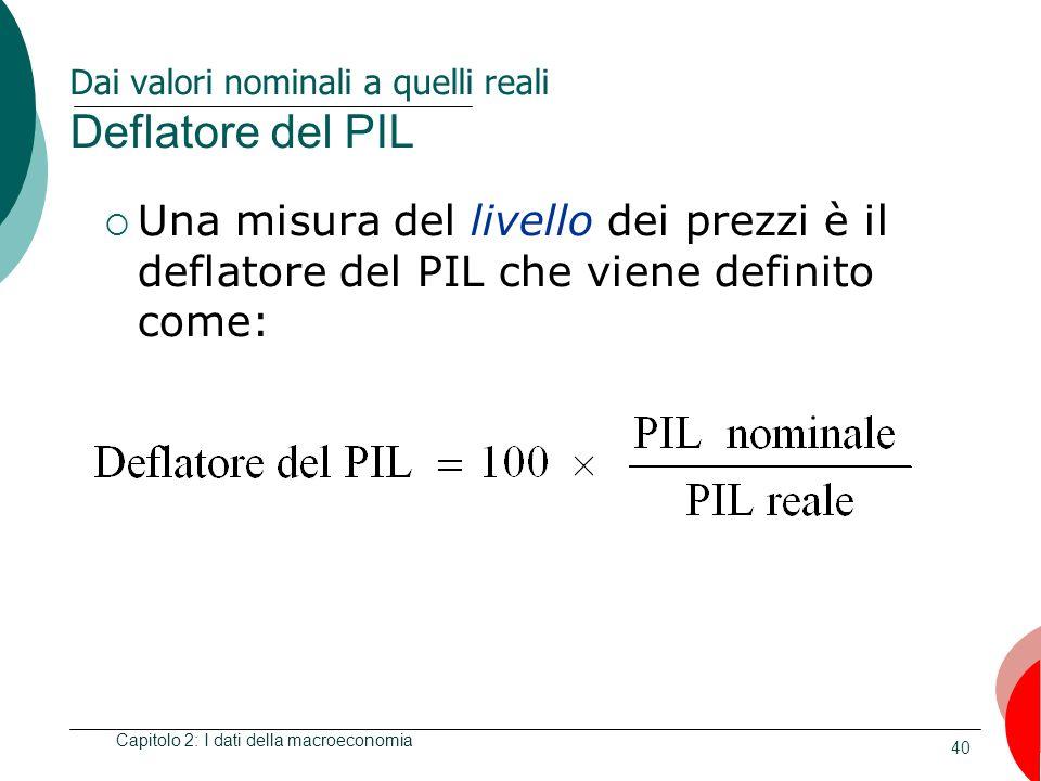 40 Dai valori nominali a quelli reali Deflatore del PIL Una misura del livello dei prezzi è il deflatore del PIL che viene definito come: Capitolo 2: I dati della macroeconomia