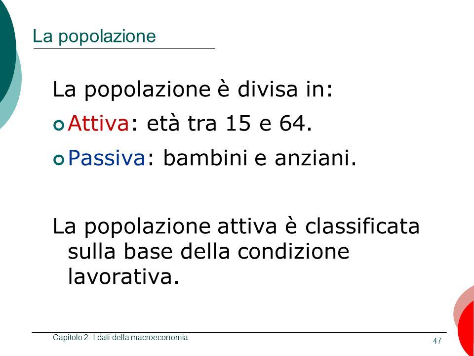 47 La popolazione La popolazione è divisa in: Attiva: età tra 15 e 64.