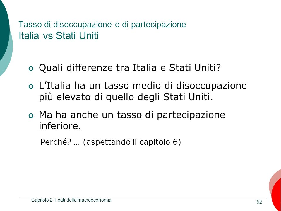 52 Tasso di disoccupazione e di partecipazione Italia vs Stati Uniti Quali differenze tra Italia e Stati Uniti.