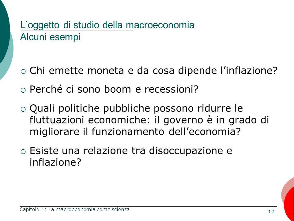 12 Loggetto di studio della macroeconomia Alcuni esempi Chi emette moneta e da cosa dipende linflazione.