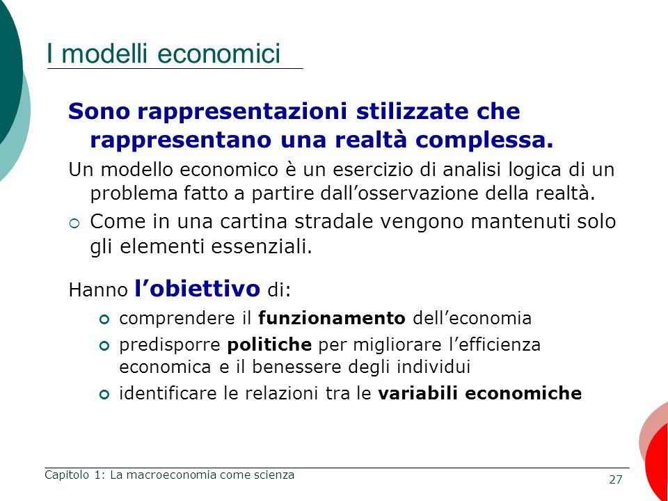 27 I modelli economici Sono rappresentazioni stilizzate che rappresentano una realtà complessa.